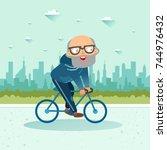 active senior. old age retired... | Shutterstock .eps vector #744976432