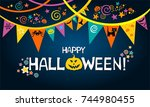 happy halloween. greeting card. ... | Shutterstock . vector #744980455