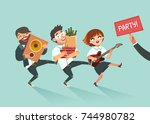 cheers  businessmen crowd going ... | Shutterstock .eps vector #744980782