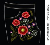 poppy embroidery stitches for... | Shutterstock .eps vector #744981532