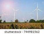 big turbine and corn farm with...   Shutterstock . vector #744981562