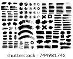 painted grunge stripes set.... | Shutterstock .eps vector #744981742