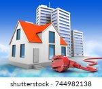 3d illustration of house over... | Shutterstock . vector #744982138