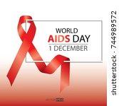world aids day symbol.1st... | Shutterstock .eps vector #744989572