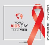 world aids day symbol.1st... | Shutterstock .eps vector #744989596