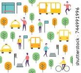 seamless urban city pattern.... | Shutterstock .eps vector #744991996