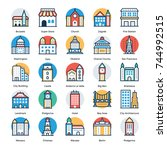 buildings flat icons set   | Shutterstock .eps vector #744992515