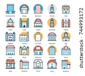 set of buildings icons   | Shutterstock .eps vector #744993172