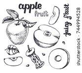 apple sketch.vector hand drawn...   Shutterstock .eps vector #744994528