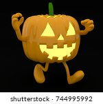 halloween pumpkin with arms and ... | Shutterstock . vector #744995992