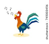 cute cartoon rooster singing.... | Shutterstock .eps vector #745003456