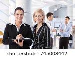 happy mid adult caucasian...   Shutterstock . vector #745008442
