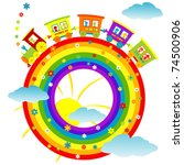 abstract rainbow with toy train | Shutterstock .eps vector #74500906