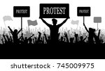 silhouette crowd of people... | Shutterstock .eps vector #745009975