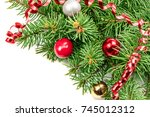 branch of christmas tree on... | Shutterstock . vector #745012312