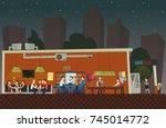 people are relaxing at the bar. ... | Shutterstock .eps vector #745014772