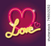 heart love icons neon sign... | Shutterstock .eps vector #745015252
