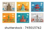 set of different cities for... | Shutterstock .eps vector #745015762