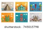 set of different cities for... | Shutterstock .eps vector #745015798