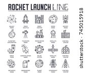 rocket outline icons collection ... | Shutterstock .eps vector #745015918