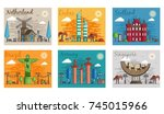 set of different cities for... | Shutterstock .eps vector #745015966