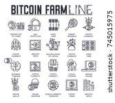 bitcoin  outline icons... | Shutterstock .eps vector #745015975