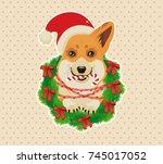 corgi head in deer antler... | Shutterstock .eps vector #745017052