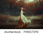 beautiful young woman with very ... | Shutterstock . vector #745017292