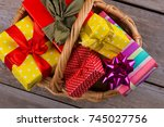 Wicker Basket With Gift Boxes....