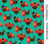 cute thanksgiving turkey pattern | Shutterstock .eps vector #745043752