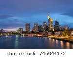 the skyline of frankfurt with... | Shutterstock . vector #745044172