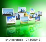 media stream of high technology ... | Shutterstock . vector #74505043