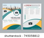 modern business two sided flyer ... | Shutterstock .eps vector #745058812