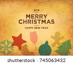 christmas and new year. vector... | Shutterstock .eps vector #745063432