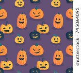 halloween seamless pattern... | Shutterstock .eps vector #745064092
