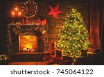 interior christmas. magic... | Shutterstock . vector #745064122