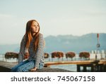 cute little redheaded girl...   Shutterstock . vector #745067158