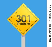 road sign yellow on a blue... | Shutterstock .eps vector #745076386