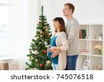 pregnancy  winter holidays and... | Shutterstock . vector #745076518