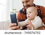 family  parenthood and people... | Shutterstock . vector #745076752