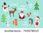 set of cute cartoon style... | Shutterstock .eps vector #745078015
