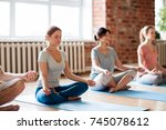 fitness  people and healthy... | Shutterstock . vector #745078612