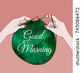 card with knitting needles in...   Shutterstock .eps vector #745086472