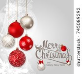 merry christmas and new year...   Shutterstock .eps vector #745089292