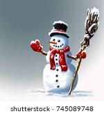 snowman in  hat with  broom.... | Shutterstock . vector #745089748