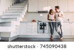 full length image of romantic... | Shutterstock . vector #745090438