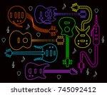 guitar illustration in neon...   Shutterstock .eps vector #745092412