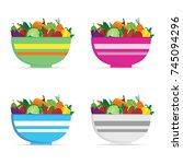 vegetable in bowl colored set... | Shutterstock .eps vector #745094296