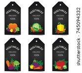 vegetable organic tag set art... | Shutterstock .eps vector #745094332