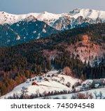 winter landscape in romania... | Shutterstock . vector #745094548